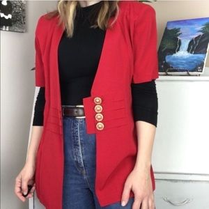 Vintage 80's Short Sleeve Blazer With Gold Buttons